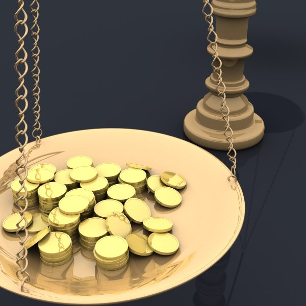 balance scales gold coins 3d max