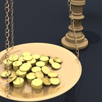 Balance Scales with Gold Coins