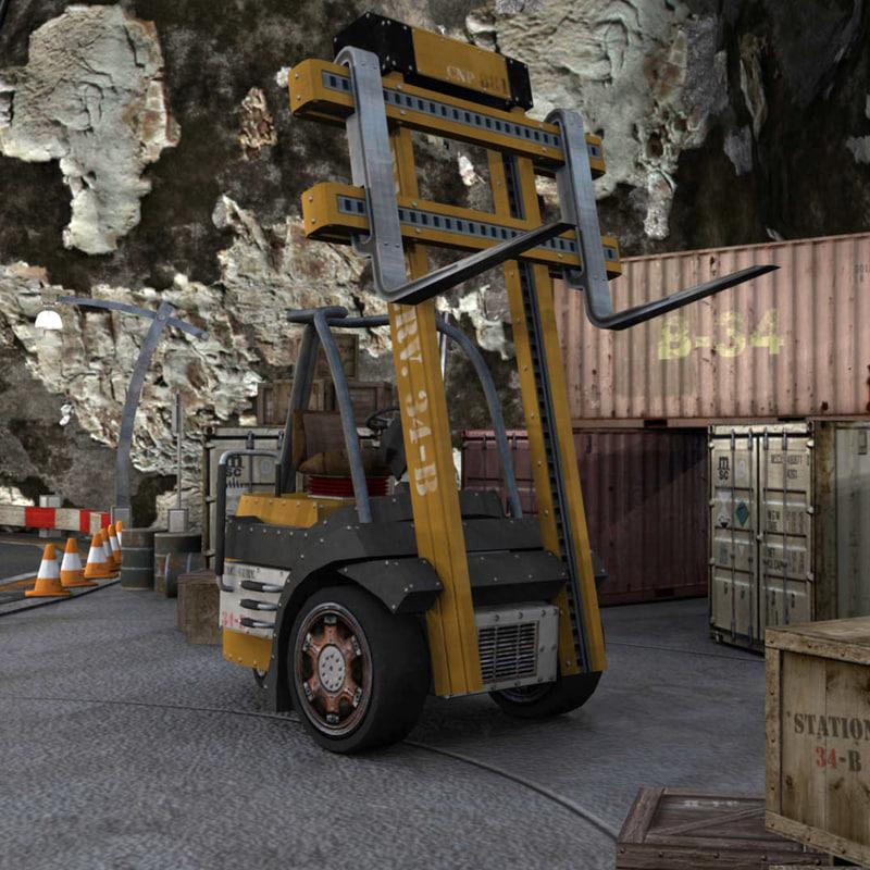 3d model forklift industrial vehicle lift