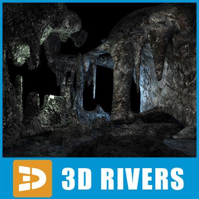 underwater cave 3d model