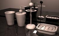 bathroom accessory set 3d model