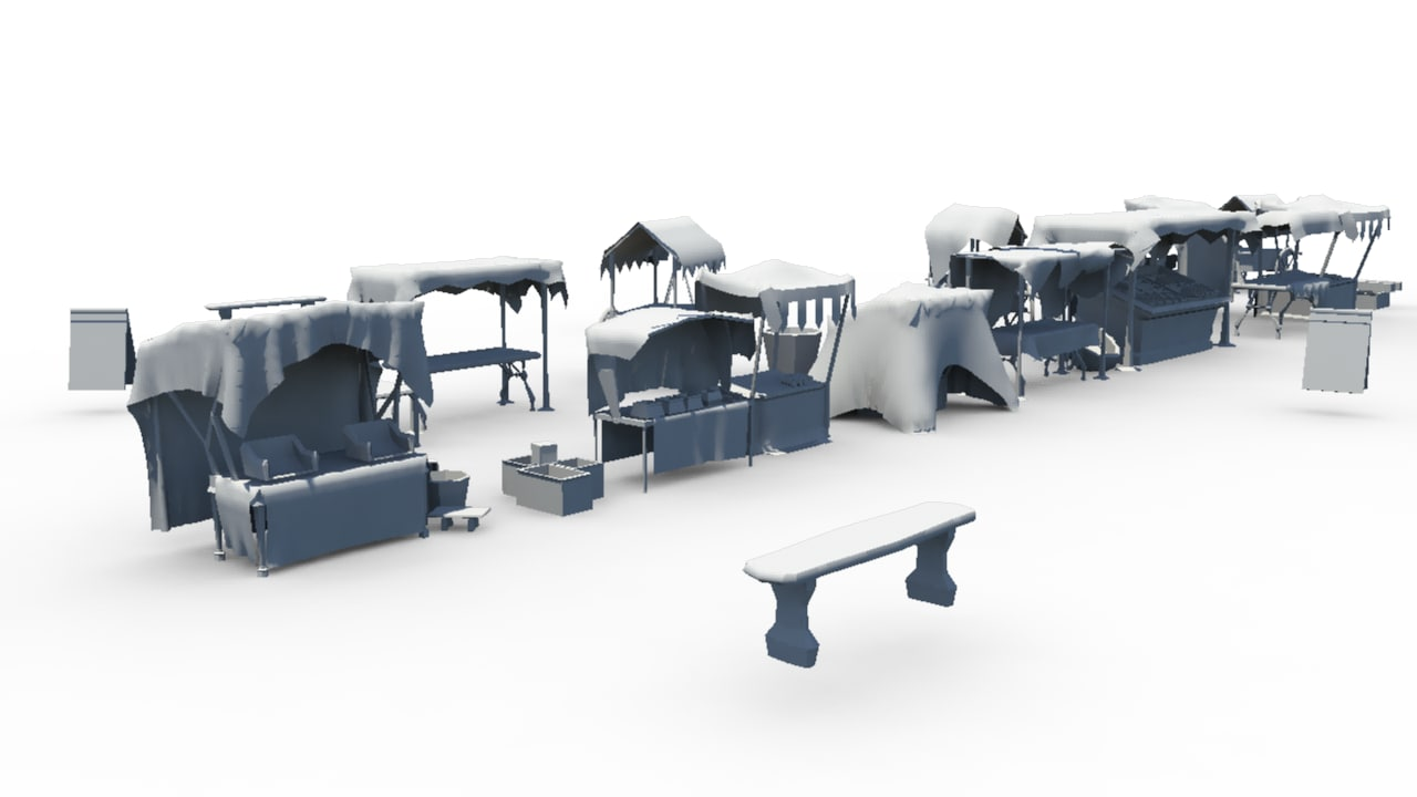 3d market stalls model