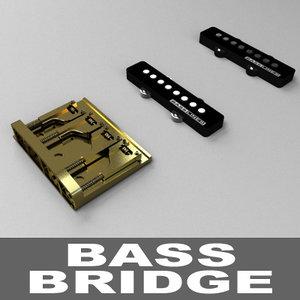 bass guitar bridge pickups 3d model