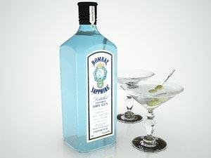 bombay sapphire gin bottle 3d model