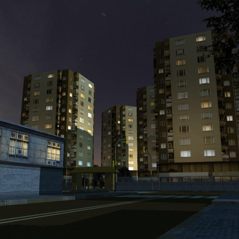3ds urban city night