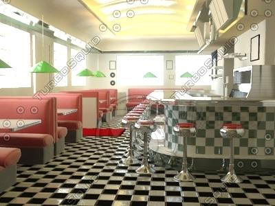 3d model 1950s style diner