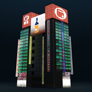 building akihabara electric night 3d max