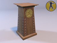 clock art nouveau 3d model