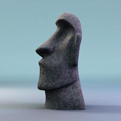 3d moai sculpture easter island