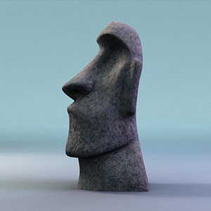 3d moai sculpture easter island