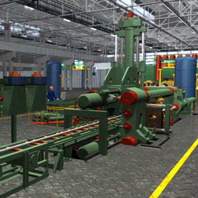 3d animation hydraulic press machine model