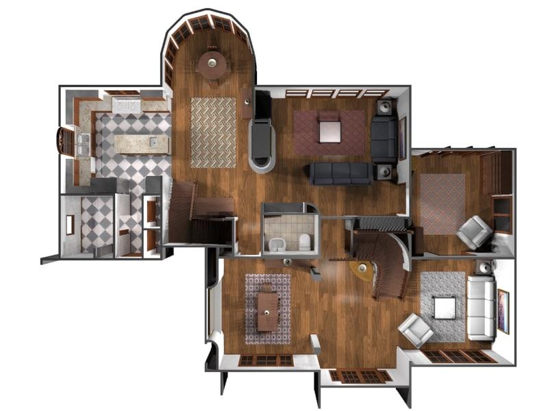 3d model interior floor house
