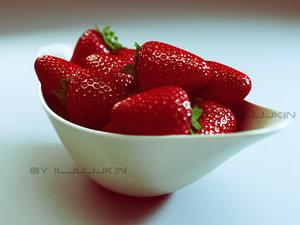 3d strawberry berry model