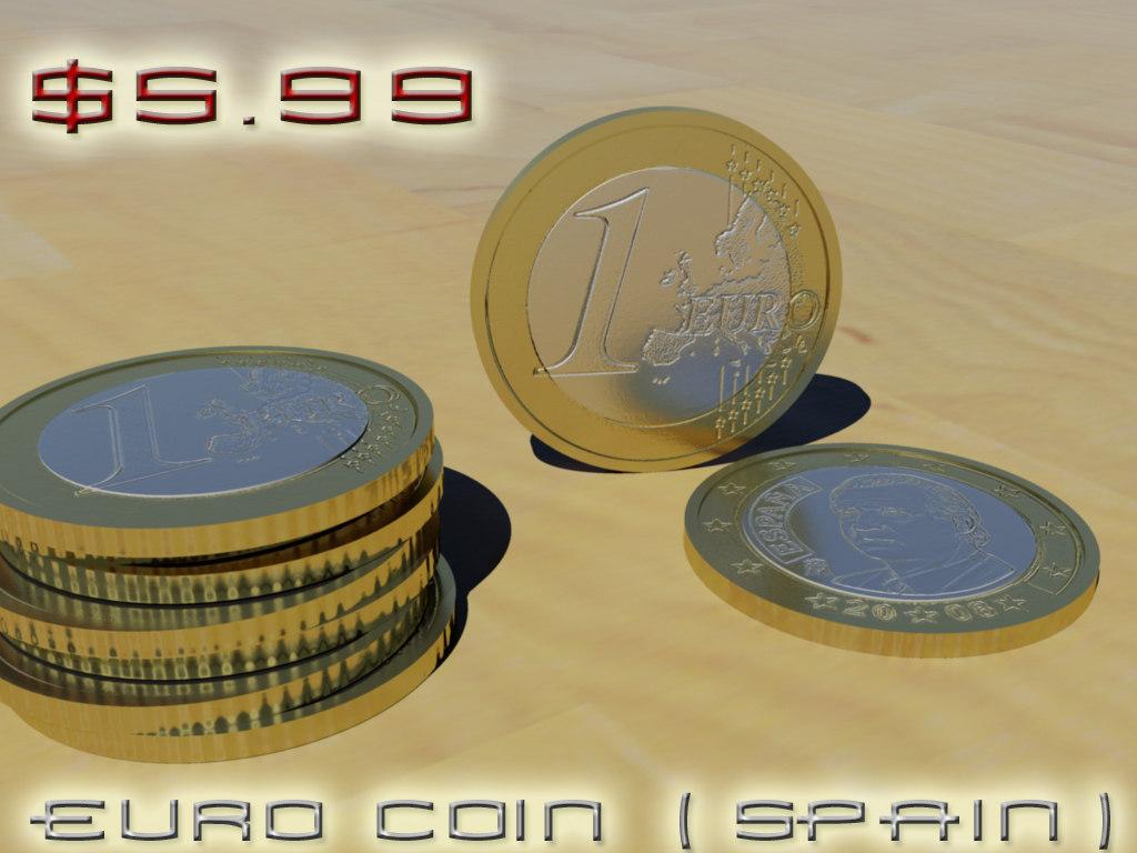1 euro coin 3d model