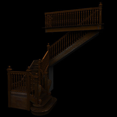 3ds old wooden stairs