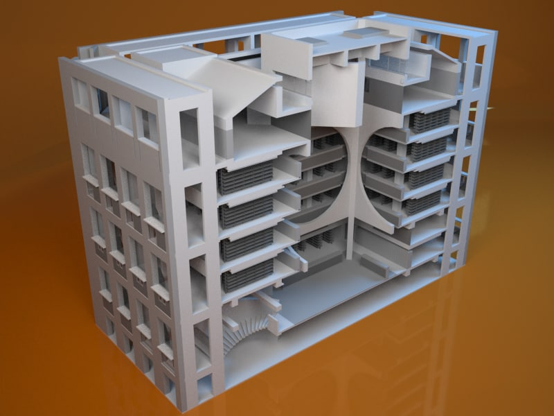 exeter library louis kahn 3d max