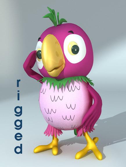 rigged cartoon parrot 3d model