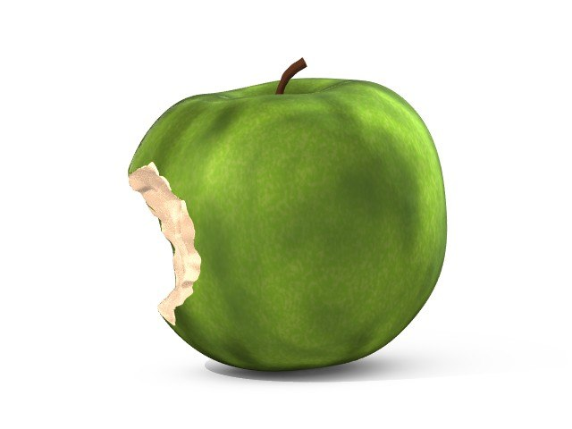 3d crunched apple model