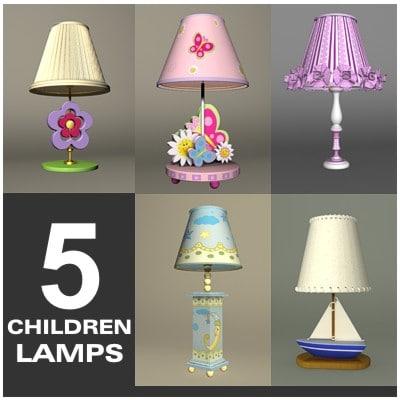 5 children lamps 3d max