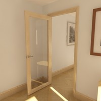 single panel glazed door 3d max