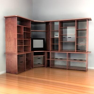 3ds shelf tv wood