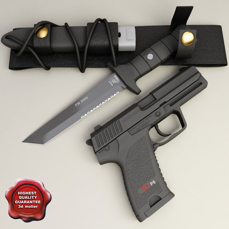 3d model of km2000 knife p8 pistol