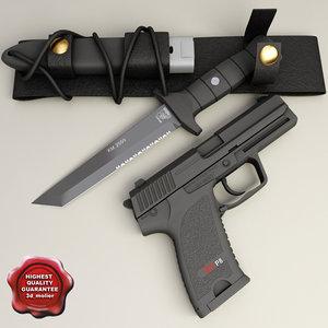 3d model of km2000 knife p8 pistol