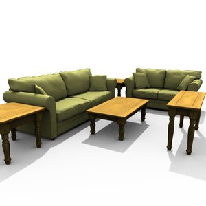 3d set living room furniture couch