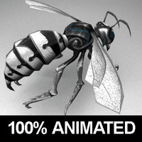 3d rigged metallic wasp monster animations model