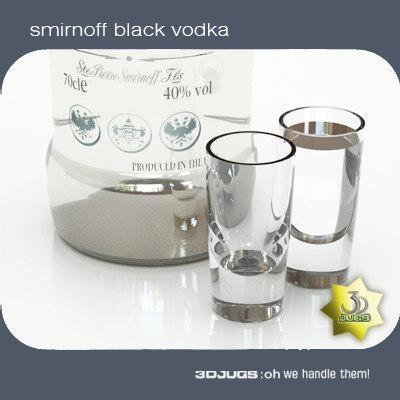 smirnoff black vodka bottle 3d model