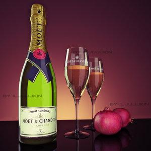 bottle champagne moet chandon 3d model