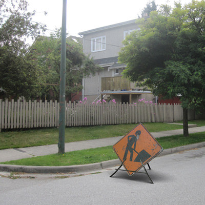 3d men work street sign model
