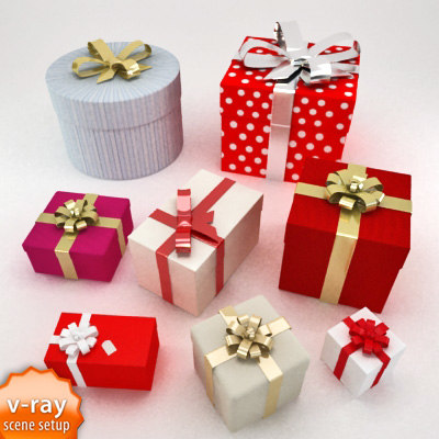 3d gift boxes model