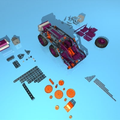 3d model meccano kit truck