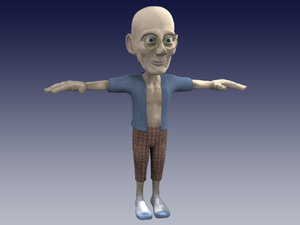 oldman toon character 3d model