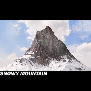 3d snowy mountain model