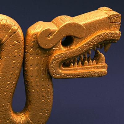 double headed serpent aztec 3d model