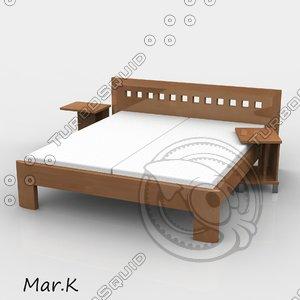 3d model double bed viva
