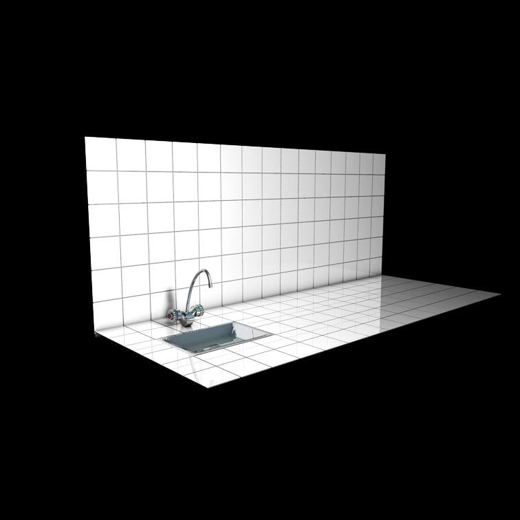 3d tiled kitchen sink water