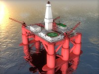 3d model of offshore oil rig platform
