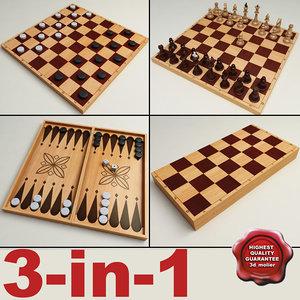 3ds max 3-in-1 chess checkers backgammon