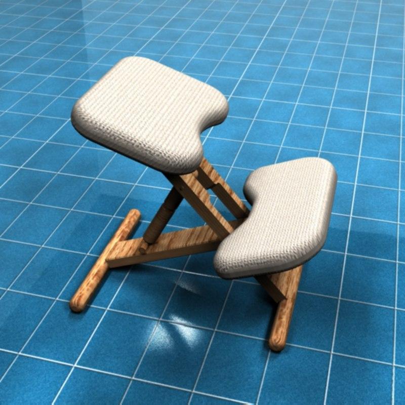 3d model kneeling chair