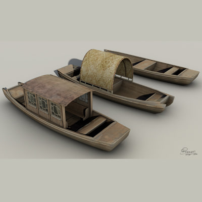3d chinese boats model