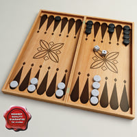 2-in-1 wooden checkers backgammon 3d model