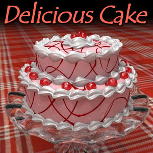 3d delicious strawberry cake model