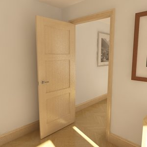 3d model solid 3 panel door