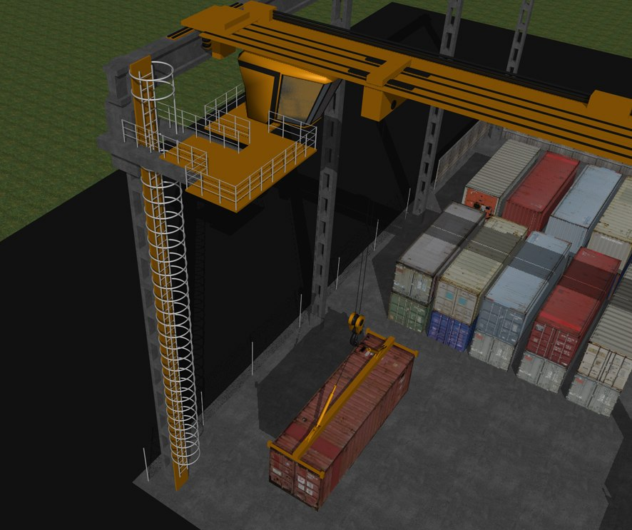 cinema4d container crane shipping