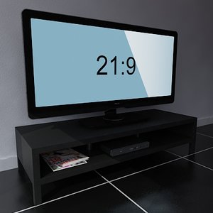 3d model 21:9 home television screen