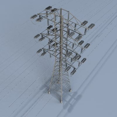 3d model voltage power lines