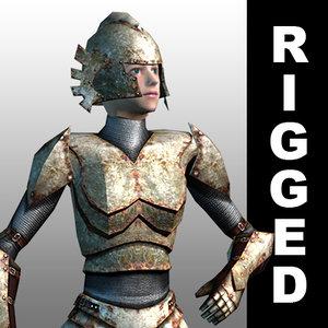 rigged fantasy warrior woman max